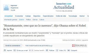 nobel de la paz a Obama